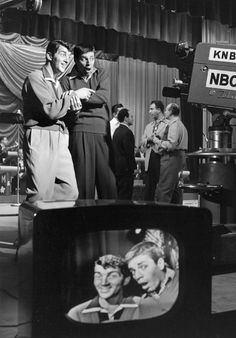 February 2, 1952: Dean Martin & Jerry Lewis on the set of the television show, Hollywood vs. TV.