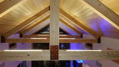 Vaulted Ceiling Lighting using Ultra Warm White Strip Light Ultra Warm White LED Strips light up the Vaulted Ceiling Lighting, Foyer Lighting, Rustic Lighting, Ceiling Beams, Strip Lighting, Bedroom Lighting, Vaulted Ceilings, Lighting Ideas, Farmhouse Light Fixtures