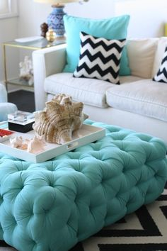 upholstered ottomans, footstools, and benches, great aqua color and I love the black  white chevron pillow accessories too!
