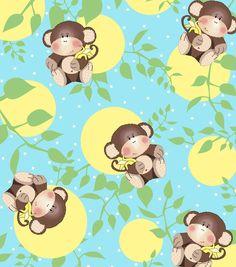Snuggle Flannel Fabric- Nightime Monkey