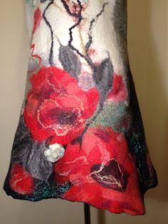 Handmade wool felted pure merino wool dress #poppies #woolfeltedclothes www.nadinsmo.com