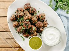 Molly Yeh Meatballs with Garlic Yogurt and Chimichurri Recipe from Food Network Turkey Dishes, Turkey Recipes, Beef Recipes, Cooking Recipes, Healthy Recipes, Meatball Recipes, Beef Dishes, Pasta Recipes, Delicious Recipes