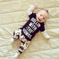 >> Click to Buy << 2016 Spring New Born Baby Set O-Neck Letter Long Sleeve Shirt + Pant Boys Clothes Set Bebek #Affiliate