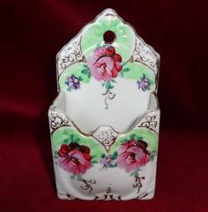 Pre-Nippon c1890 HAND PAINTED porcelain MATCH HOLDER with STRIKER SIDES - ROSES