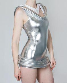 Cyberdog moon playsuit silver cyber space alien Disco One size Dancewear