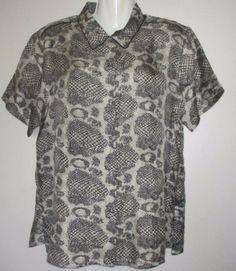 Anna & Frank Size M  Multi-color 100% SILK Snakeskin Print Short Sleeve Blouse #AnnaFrank #ButtonDownShirt #Casual