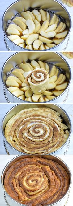 Four steps of preparation Upside Down Apple Cinnamon Roll Cake .