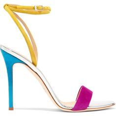 Giuseppe Zanotti Mirrored leather-trimmed suede sandals ($615) ❤ liked on Polyvore featuring shoes, sandals, fuchsia, suede sandals, fuchsia sandals, strappy high heel shoes, fuschia sandals and strap shoes