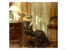 Carl Holsøe (1863-1935): A Woman Sewing in an Interior