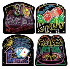Neon Casino Cutouts (4/pkg) - (measures between 12 1/2-13 1/4 inches Printed on paperstock material Four different designs in each package: 21 BlackJack - DoubleDown High Roller - Craps Texas Hold'em - No Limit Roulette Four (4) per package) - $3.80/set 4