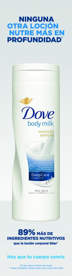 Página de publicidad loción corporal body milk de Dove.  2011 - Unilever