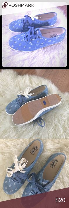 NWOT.  Chambray Arrow Print Keds Super cute chambray sneaks with white arrow print.  White and blue laces included!!! Keds Shoes Sneakers