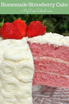 This homemade Strawberry Cake Recipe is the BEST! The BEST Strawberry Cake from scratch! This homemade layer cake is a favorite year-round! We love it with cream cheese frosting! (From My Cake School's collection of the best cake and frosting recipes)! Strawberry Cake From Scratch, Homemade Strawberry Cake, Strawberry Cake Recipes, Strawberry Cake Decorations, Strawberry Sweets, Fresh Strawberry Cake, Strawberry Buttercream, Cake Recipes From Scratch, Strawberry Blonde