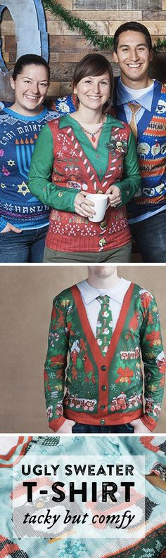 These tacky designs emulate ugly holiday sweaters in every way, without the bulk and itchiness.