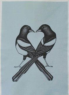 Pink 'Two For Joy' Magpies Original Designer Tea Towel. Awful Tattoos, One For Sorrow, Magpie Tattoo, Bird Quilt, Real Tattoo, Cover Up Tattoos, Glass Birds, First Tattoo, Botanical Illustration