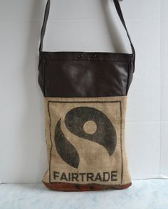 Burlap and Leather Tote  Bag  Coffee Burlap Tote  by Liquidshiva, $68.00