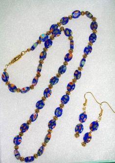 Handmade Blue Millefiori Beaded Necklace Set by SCLadyDiJewelry