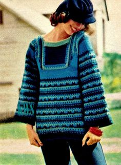 "Vintage 70's Crochet ""TRUMPET-SLEEVED"" Top - PDF Pattern - Hippie Fashion Crochet Tunic, Crochet Clothes, Crochet Vests, Crochet Tops, Vintage Knitting, Vintage Crochet, Hippie Crochet, Crochet Style, Crochet Designs"
