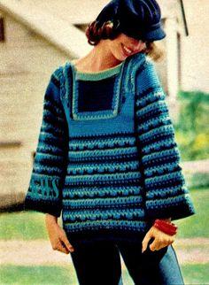 Vintage 70 Crochet Top Manga de trompeta  patrón por KinzieWoolShop