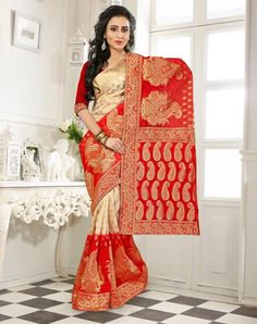 Red Banarasi Silk Saree With Blouse 64056