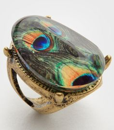 Resin Peacock Print oval ring $12