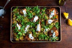 Sheet pan recipes + tips : Chicken, Potatoes, and Arugula with Garlic Yogurt from Melissa Clark at the NYT.