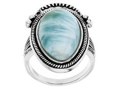 S/S 21x12mm Ps Cab Stbl Larimar Solitaire Ring/Not Szbl/Oxd