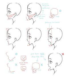 Manga Drawing Tips deel@にゃ ( Drawing Heads, Manga Drawing, Anatomy Drawing, Anime Mouth Drawing, Comic Drawing, Figure Drawing, Drawing Reference Poses, Drawing Tips, Drawing Techniques