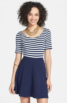 $28, Lily White Skater Skirt Dark Navy Small. Sold by Nordstrom. Click for more info: https://lookastic.com/women/shop_items/51883/redirect