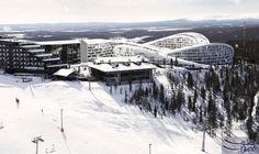 """منتجع جديد يتيح للسياح التزلج فوق أسطح مبانيه: التصميم المبتكر لمنتجع التزلج الفاخر الجديد """"قرية كوتالاكى للتزلج"""" فى مدينة لابلاند…"""