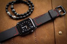 Handmade Leather Band BF2626 Red Stitching incl. Lugs Adapter for Apple Watch (or Apple Watch Sport/Space Gray) 42mm or 38mm
