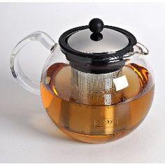 """""""Assam"""" théière en verre  par Bodum. Couvercle et filtre en inox. Capacité 1 L."""