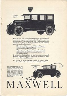 Old advertisement Good Maxwell car, coupe or sedan, vintage 1923