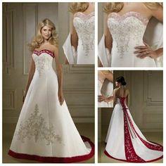 Frete Grátis Frete Grátis New Hot Sale A linha de cetim vermelho e branco vestidos de casamento 201.00