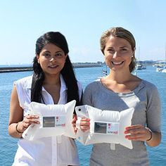 Anna Stork and Andrea Sreshta, inventors and founders of LuminAID. They designed an inflatable, solar lantern for emergency needs.