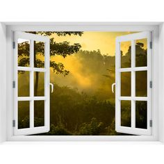 Window Wall Mural Sunrise over jungle Peel and Stick Fabric