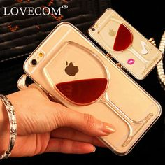 Lovecom para iphone 5s 5c 6 6 s 7 plus phone case shell vino tinto arenas movedizas líquido claro transparente duro cubierta posterior para el iphone 6