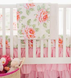 Pink Roses Crib Rail Cover Set  |  Hello Rose Cream Crib Collection