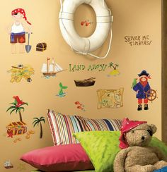 Pirate Treasure Bedroom Decor Wall Mural Decals Peel & Stick Stickers for Boys #kidsroomstore $19.99