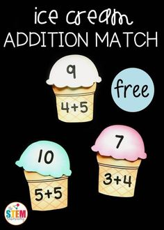 Fun summer addition math game! This ice cream addition match is a great way for students to solve addition facts to 10 and build up their fact fluency in a fun, hands-on way at a math center this fall when we go back to school . Or tan easy practice math activity for kindergarten and first grade this summer!