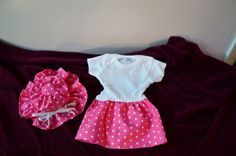 Onesie Pink with White Polka Dots and by PapersRocksScissors, $38.00