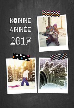 Cette année, envoyez une Carte de voeux façon Album photo sur fond d'ardoise qui rappelle un tableau noir. Partagez vos plus beaux souvenirs avec tous ceux que vous aimez pour la nouvelle année !
