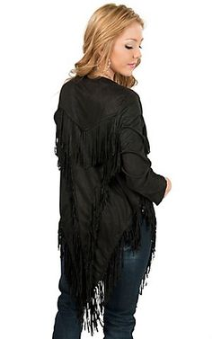 Angie Women's Black Faux Suede with Fringe Cardigan Fringe Cardigan, Sweater Cardigan, Houston Livestock Show, Showing Livestock, Outerwear Women, Rodeo, Ruffle Blouse, Lady, Sweaters