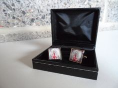 Cufflinks in gift box featuring pinup, burlesque, gothic, tattooed, sexy vampire art from Madams Pinups