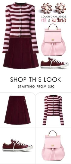 """""""Pink and Burgundy"""" by boxthoughts ❤ liked on Polyvore featuring Shrimps, Marni, Converse, Dolce&Gabbana, Don't AsK, women's clothing, women, female, woman and misses"""