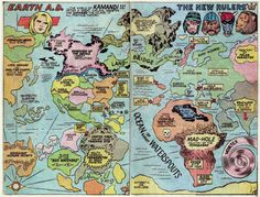 "Fricking Awesome Maps From the Silver Age of Comic Books | <em>Kamandi</em> was a post-apocalyptic story where the world's last human fought against legions of mutant animals. Hilgart says Jack Kirby's 1974 world map only hints at some of the craziness from the comic book. ""You have these mad stories where Kamandi battles with radioactive tiger people. Kirby made up a lot of crazy shit, especially in the 70s.""  