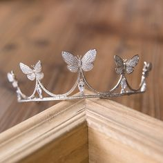 New Arrival European Brides Cubic Zirconia Butterfly Tiara Headpieces Evening Crystal Crown Hair Accessories