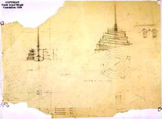 Section, elevation, and plan studies - -- The spire is shown rising from deep within the structure. Although its exact function is unknown, it was possibly intended as a radio transmission tower. Parking was proposed along the descending ramps.