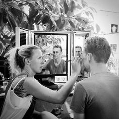 """Tom Hiddleston being made-up by Harriet Thompson during the filming of """"The Night Manager"""" From http://tw.weibo.com/torilla/3974790392561419 via https://www.instagram.com/p/BCXlpDEhDxi"""