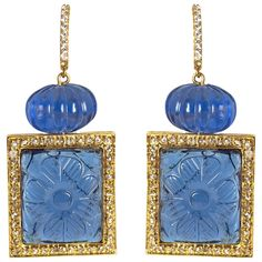 Maharajah Jewel Collection Faux Sapphire Diamond Drop Earrings
